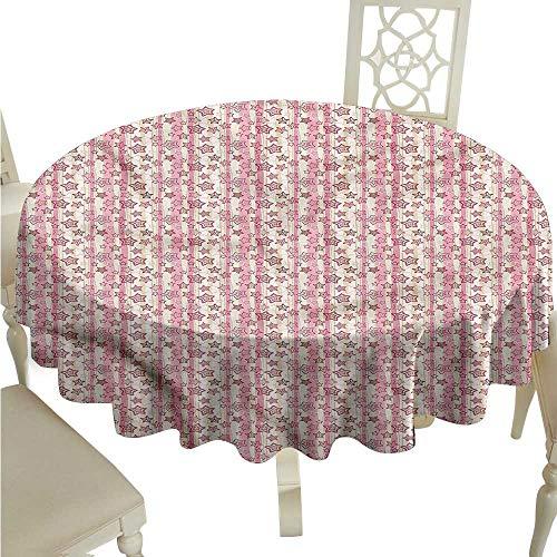 ScottDecor Tassel Tablecloth Star,Vintage Vertical Stripes Printed Tablecloth Round Tablecloth D 54