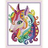 Cross Stitch Stamped Kits Pre-Printed Cross-Stitching Starter Patterns for Beginner Kids or Adults, Embroidery Needlepoint Kits