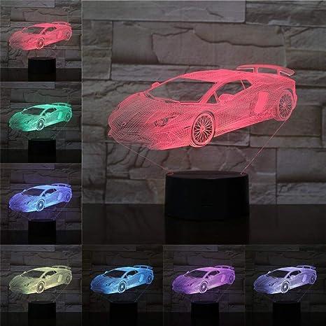 BYSQX 3D Led Night Light Ilusión Óptica Lamp-Racing Car 16 ...