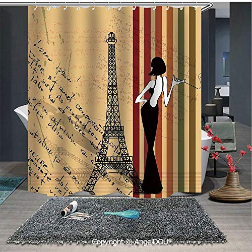 AngelDOU Paris City Decor Lightweight Durable Fabric Shower Curtain Grunge Background Classical Glamor Woman with Cigarette Fashion Pattern Retro Ar for Bathroom with Free Hooks]()