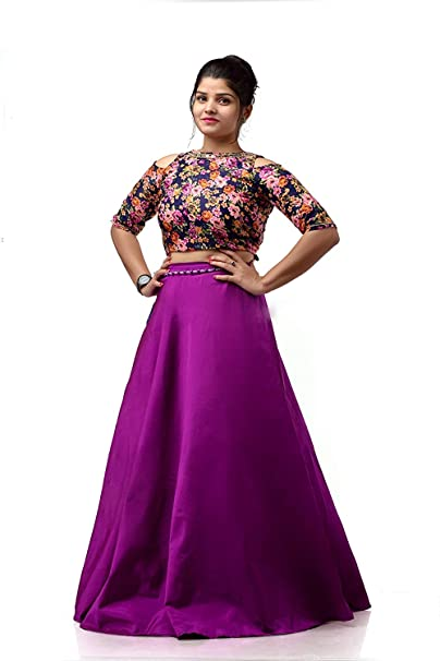 4f69553fcf5508 Shri Rajrama Creations Women s Crepe Silk Cold Shoulder Boutique Piece  Fully Stitched Crop Top with Long