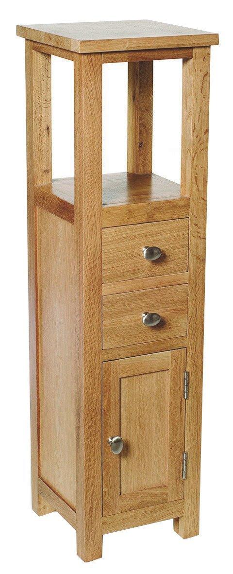 Delightful Waverly Oak Tall Cabinet In Light Oak Finish   Small Solid Wooden Bathroom  Cupboard / Tower