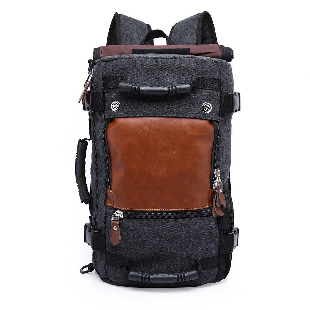 4 in 1 Canvas Laptop Backpack & Handbag & Vintage Messenger Bag & Luggage Bag Capacity Rucksack for Travel/Hiking/Camping/Trip (black)