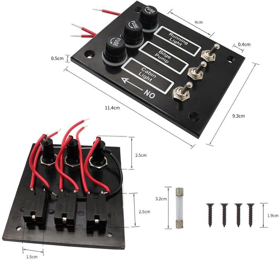 ATpart 3//6P Paneles de baquelita de Encendido y Apagado con fusibles Bakelite Toggle 12 V Panel de Interruptor con fusibles