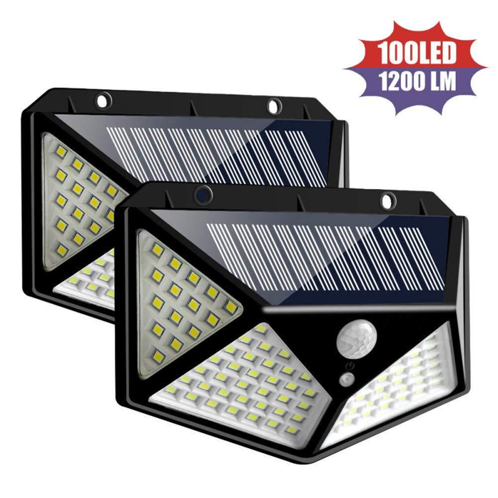 2-Paquete luces de seguridad con sensor de movimiento a prueba de agua con 3 modos de iluminaci/ón luces de pared de 270/º Luces con energ/ía solar 100 luces solares LED para exteriores