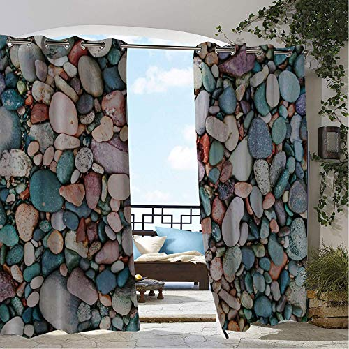 Linhomedecor Gazebo Waterproof Curtains Colorful Cobblestone Multicolor pergola Grommet Printed Curtain 120 by 72 inch