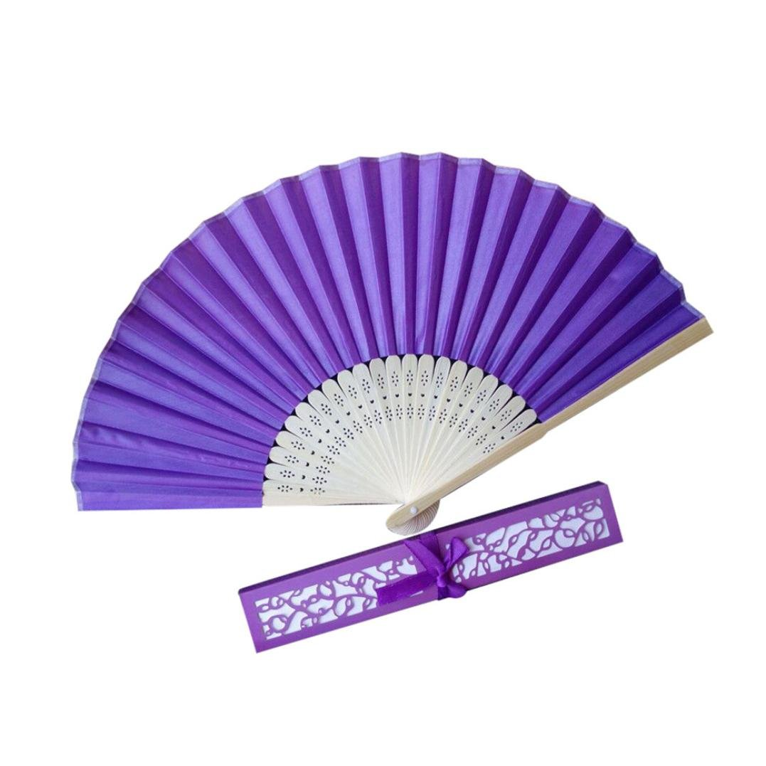 Purple 21CM Wedding Hollow Fan Open Box,Mamum Stunning Silk Fans With Gift Box Wedding Favours Beach Party