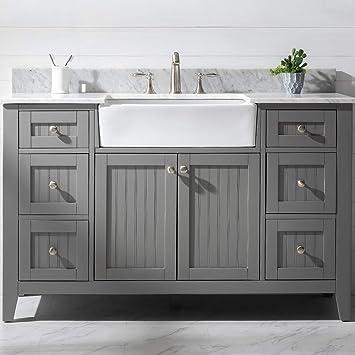 Luca Kitchen Bath Lc54vgw Balboa 54 Single Bathroom Vanity Set In French Gray With Carrara Marble Countertop And Farmhouse Sink Amazon Com