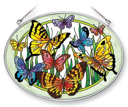(Amia 41381 Butterfly Surprise 7 by 5-1/2-Inch Oval Sun Catcher,)