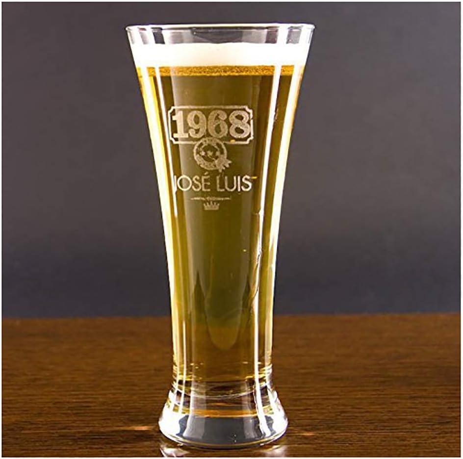 Calledelregalo Regalo Personalizable para cumpleaños: Copa de Cerveza Alemana grabada con su Nombre y año de Nacimiento