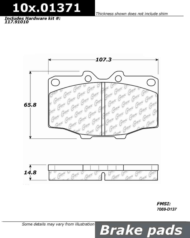 StopTech 105.01371 Brake Pad Ceramic
