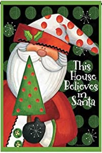 """Jolly Jon This House Believes in Santa - Christmas Outdoor Winter Garden Flag - One Sided Holiday Yard Decor - Polyester 12"""" x 18.5"""" in Size"""