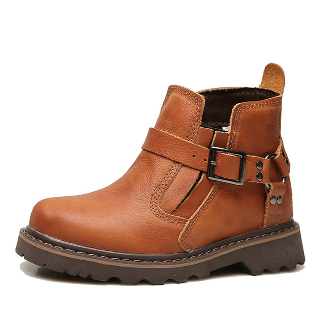 Z.SUO Men Women Unisex Couple Leather Two Wear Fashion Boot B076DL9GLM US W:7|Red Brown