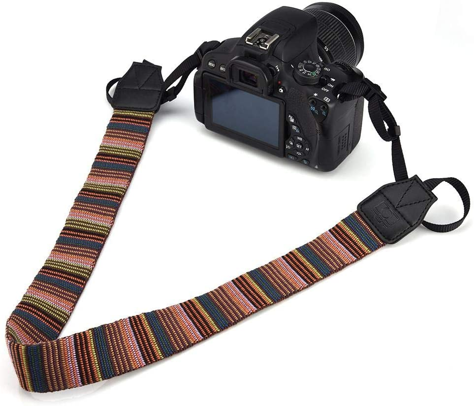 Xinwoer Universal 1cm Wide Colorful Polyester Fabric Shoulder Neck Camera Belt Strap Mixed Color