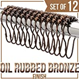 Grandarëk SET OF 12 - SHOWER CURTAIN HOOKS/SHOWER CURTAIN RINGS Oil Rubbed Antique Bronze Heavy Duty Rollerball Friction free/easy glide