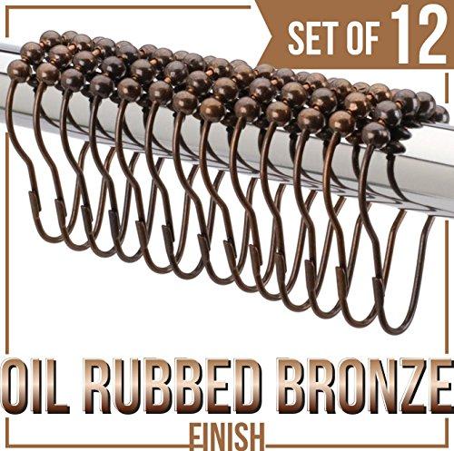 Grandarëk SET OF 12 - SHOWER CURTAIN HOOKS/SHOWER CURTAIN RINGS Oil Rubbed Antique Bronze Heavy Duty Rollerball Friction free/easy glide by Grandarëk