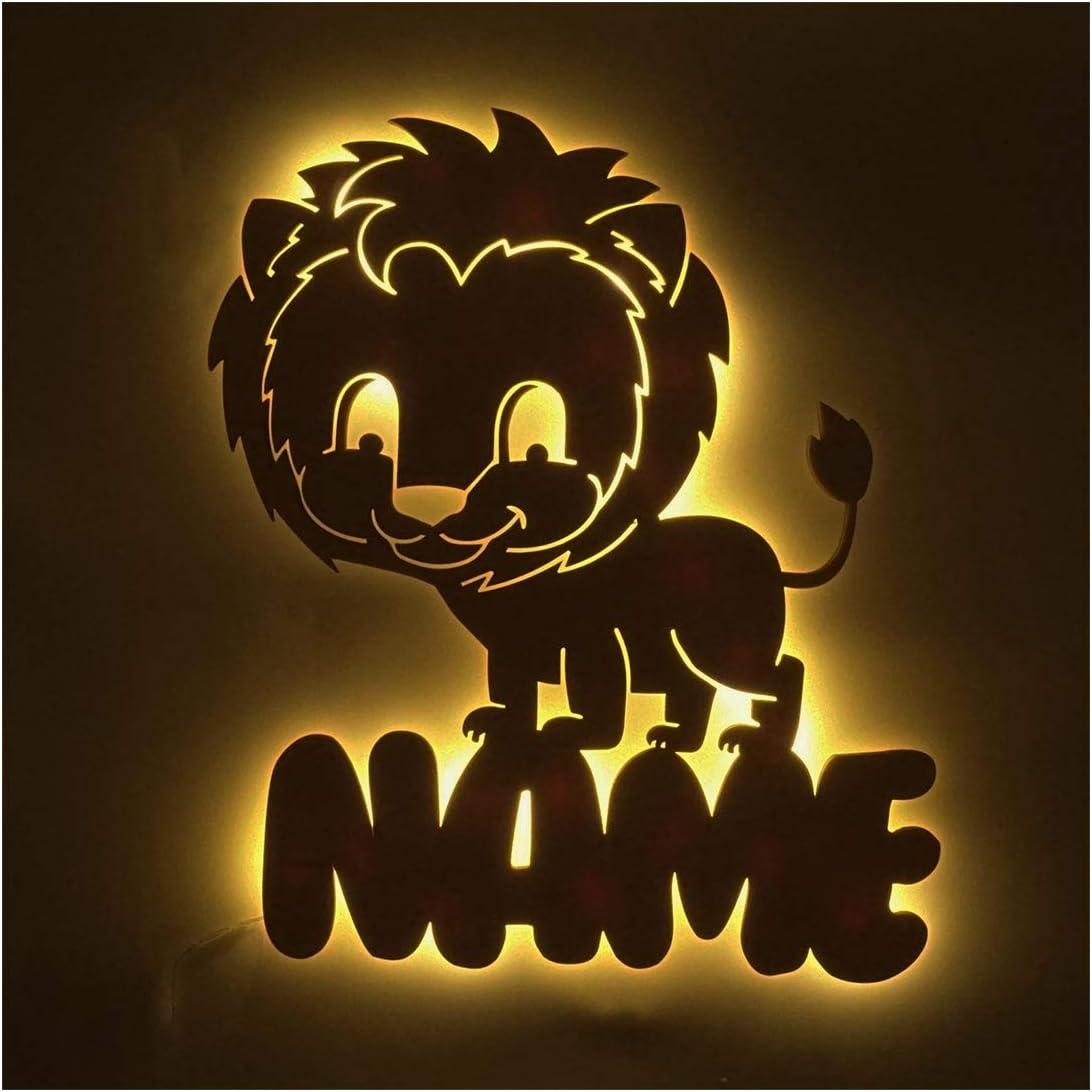 L/öwe Geschenk Kind Kinderzimmer-Lampe Personalisiert mit Wunsch-Name f/ür M/ädchen oder Jungen Nachtlicht Babyzimmer Schlummerlicht