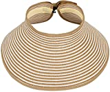 Toppers Womens Sun Hat Wide Brim Roll up Foldable UPF 50+ Straw Sun Visor