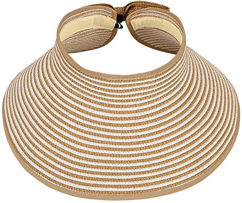 Simplicity Fashion Women Roll up Wide Brim Sun Visors Adjustable Straw Hat (Hats For Wholesale)