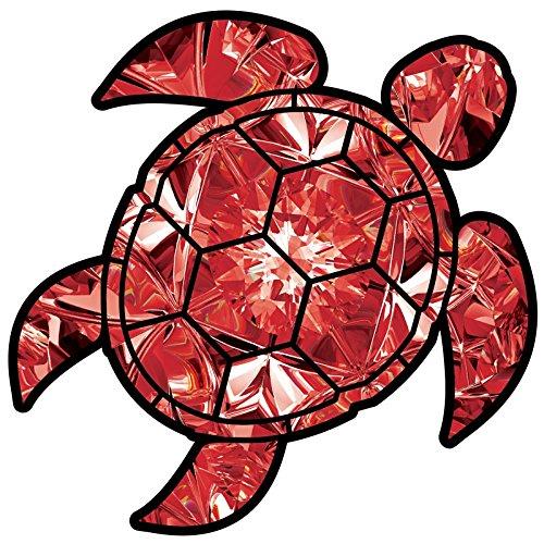 "Ruby Sea Turtle Birthstone Decal July Print Sticker Vinyl Rear Window Car Truck Laptop Gem Travel Mug Water and Fade Resistant 2.5"""
