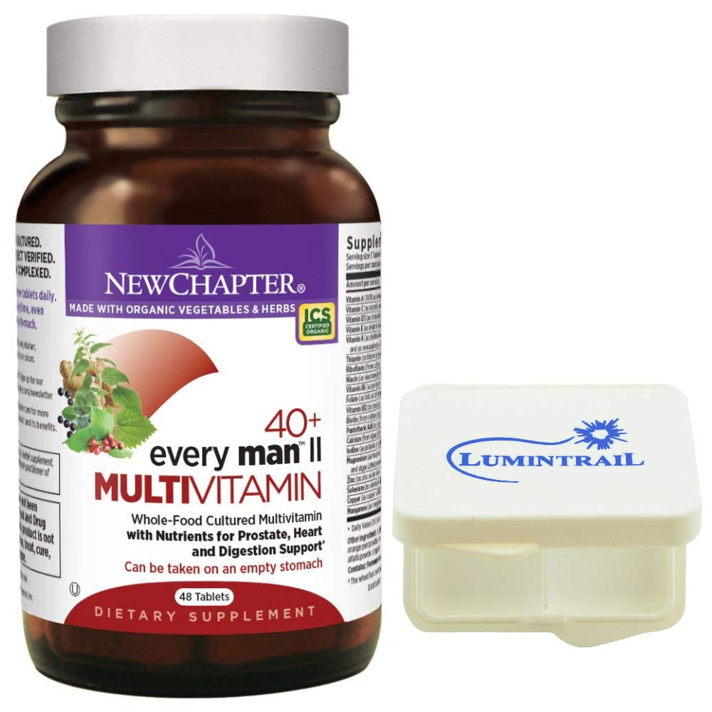 New Chapter Every Man II 40+, Men's Multivitamin with Probiotics, Selenium, B Vitamins, Vitamin D3, Organic Non-GMO Ingredients - 48 Tablets Bundled with a Lumintrail Pill Case