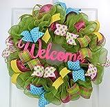 Wreath for Summer | Spring Welcome Wreath | Outdoor Front Door Wreath | Pink Yellow Green Turquoise