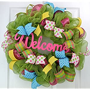 Wreath for Summer | Spring Welcome Wreath | Outdoor Front Door Wreath | Pink Yellow Green Turquoise 33