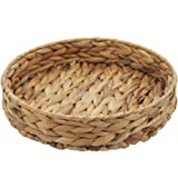 HD Fruit Tray Weaving by Grass, Round Bins for Vegetable, Arts and Crafts. (Large)