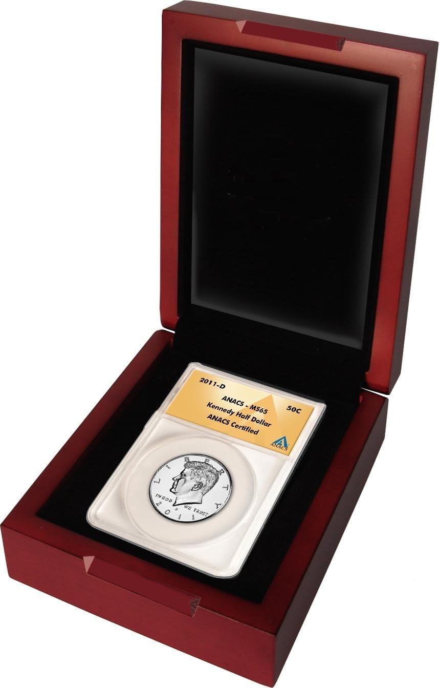 Kennedy Half Dollar 2011 D Grade ms65 in木製ボックス