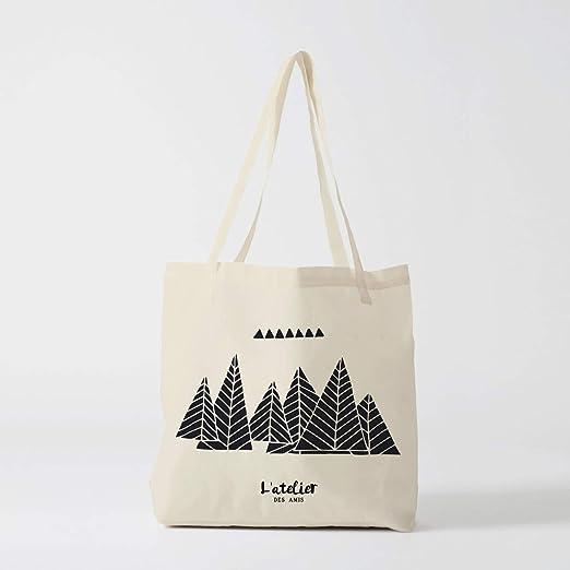 Bolso Tote Bag Mountain negro ilustración bolsa de algodón bolso ...