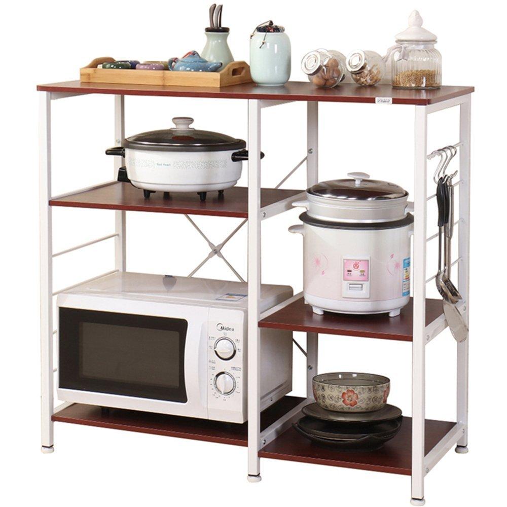 DlandHome 35.4 Microwave Cart Stand, Kitchen Utility Storage 3-Tier+3-Tier for Baker's Rack & Spice Rack Organizer Workstation Shelf, Walnut Red