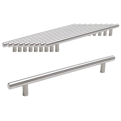 Probrico Pomo de barra en T, de mueble de cocina, acero inoxidable, 12 mm de diámetro, 10 unidades, CC:192mm
