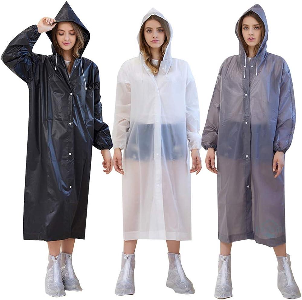 Women Men Hooded EVA Button Raincoat Waterproof Clear Poncho Rainwear One Size
