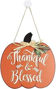 Wooden Pumpkin Hanging Sign, Thankful & Blessed'' Handmade Pumpkin Fall Harvest Decor, Best for Thanksgiving Halloween Indoor Outdoor Door Wall Decoration, 14.17 x 9.45 x 0.35 inches