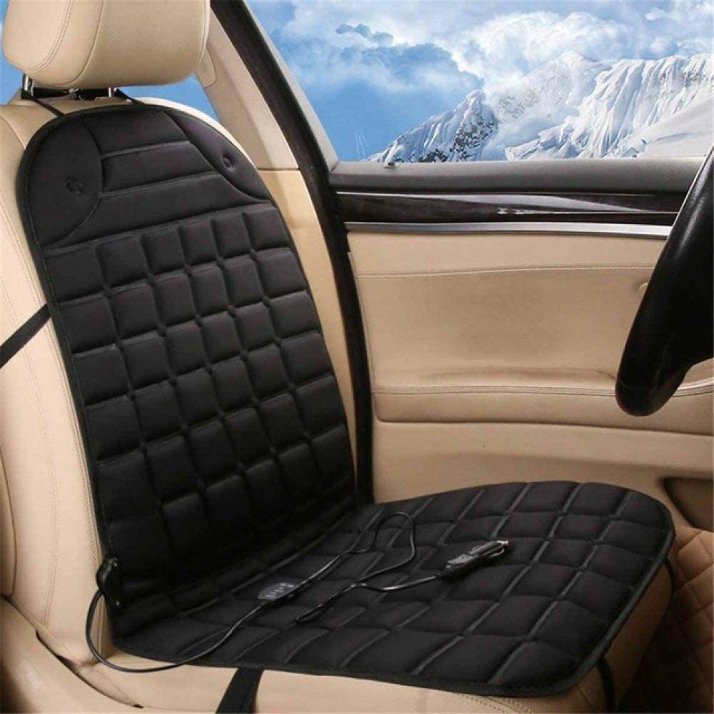 YYMMQQ Cubierta del Asiento de Carro 12V Electric Heated Car Seat Cushion Winter Car Seat Pad Car Auto Massage Back/ / Heated Seat Covers Universal Conjoined Supplies,Black