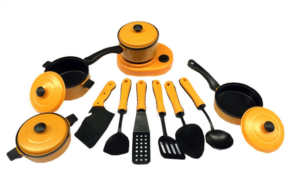 11Pcs Kids House Kitchen Toy Cooking Food Dishes Cookware Pretend Play Kitchen Playset for Kids AHATECH