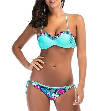 Femmes Beach Frill Bikini, bleu clair sexy 2 pièces ensembles rembourrés Push Up maillot de bain Beachwear