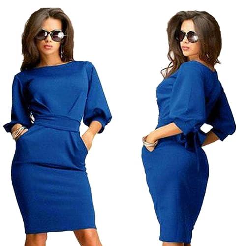 Sunward New Women's Slim Bodycon Half Sleeve O-neck Party Office Business Dress