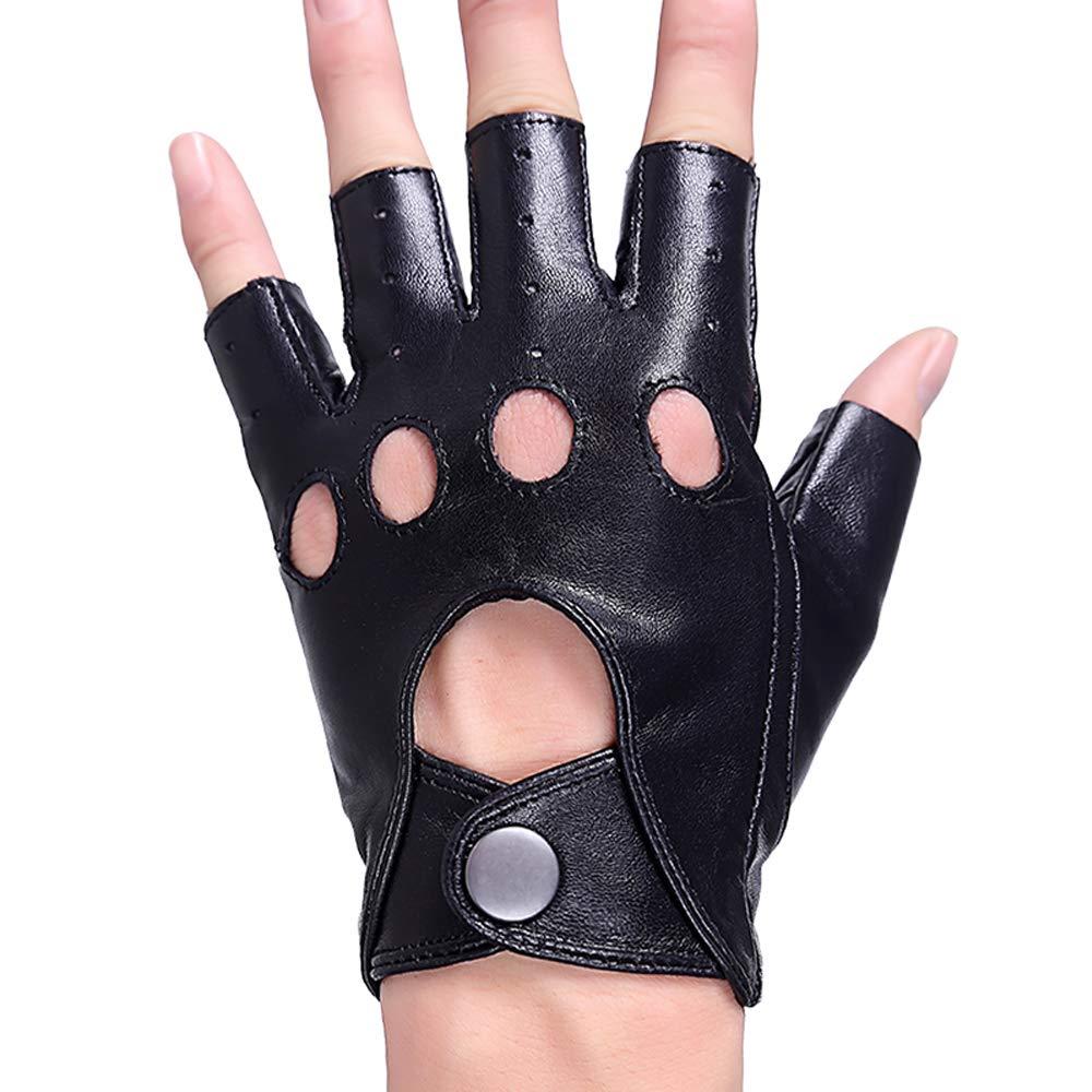 Ogquaton Premium Frau Halbfinger Lederhandschuhe aush/öhlen Handschuhe Reithandschuhe f/ür Tanzparty Cosplay Ourdoor Activity Black