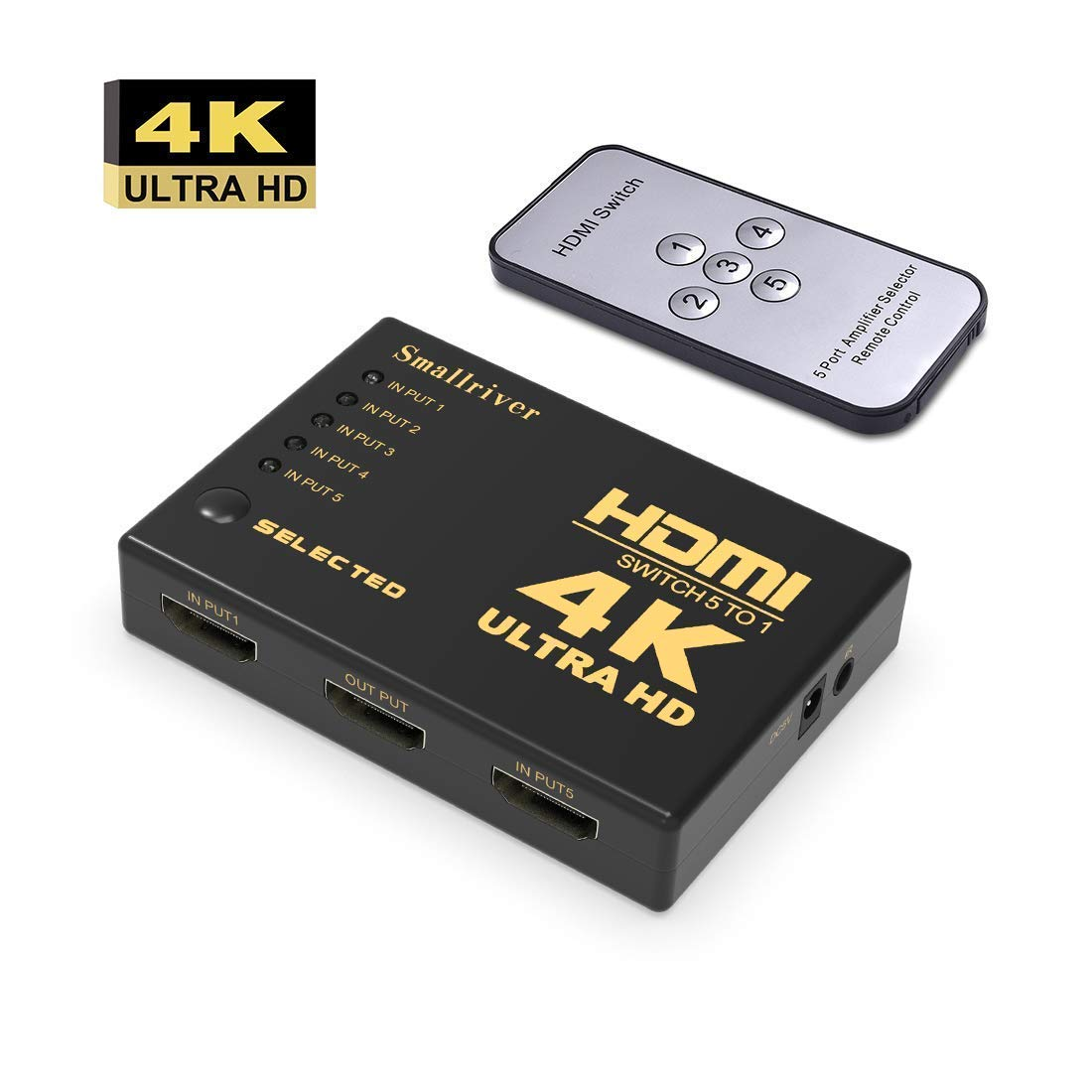 HDMI Switch Splitter,Smallriver Intelligent 5 Port HDMI Switch, Supports 4K, Full HD1080p, 3D Player with IR Remote (5 Port-Black)