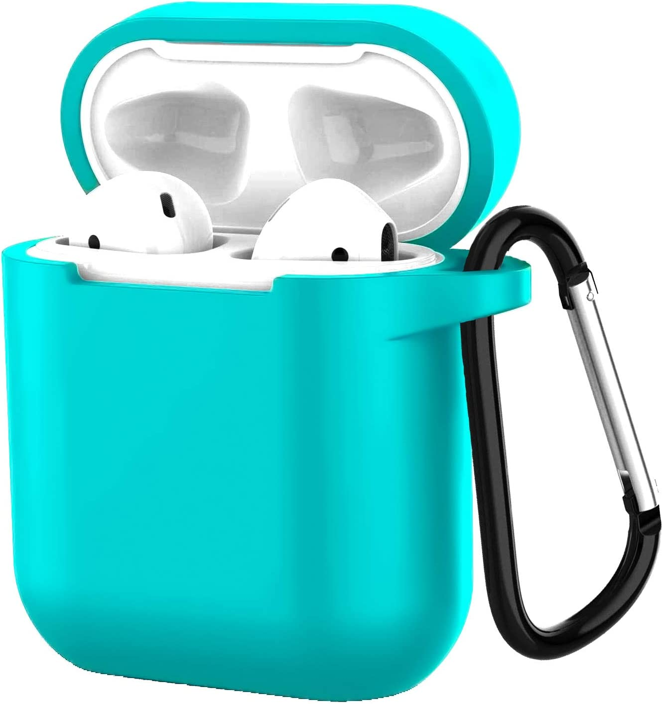 Compatible with Airpods 1/2 USB Wire Charging Silicone Case Protective Silicone Cover and Shockproof Skin Cover with Anti-Lost Carabiner Keychain - Blue