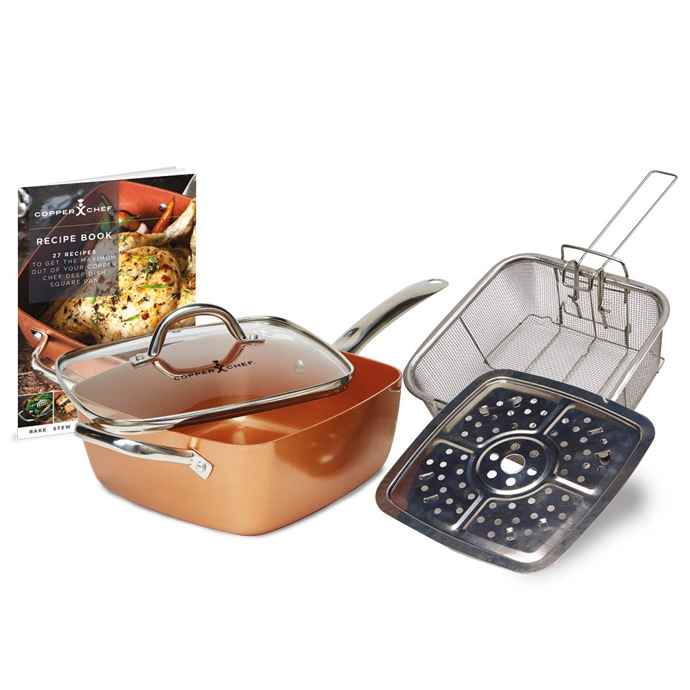 """Copper Chef (5 piece) Non-Stick 9.5"""" Large Deep Sided Square Pan Kit (As seen on High Street TV)"""