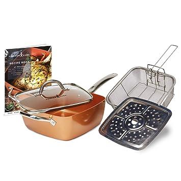 Cacerola Copper Chef, antiadherente 6 en 1, cobre, Paquete de 5: Amazon.es: Hogar