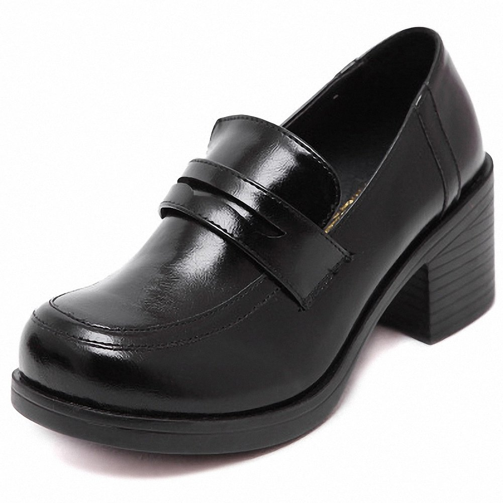 mewow Women's Girl's Lolita Mid Heel Students Uniform Dress Shoes for Costume and Daily (8, Black) by mewow