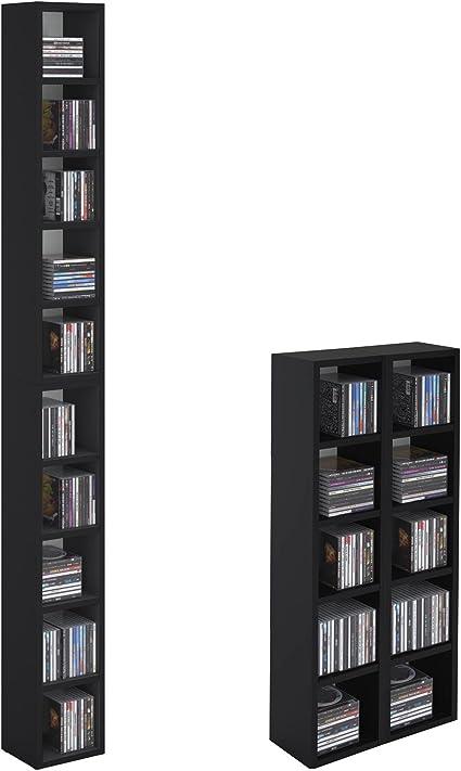 CARO-Möbel Carolina de Muebles CD DVD Estantería Soporte Chart en Negro con 10 Compartimentos para Guardar hasta 160 CD, 20 x 186 cm (Ancho x Altura)