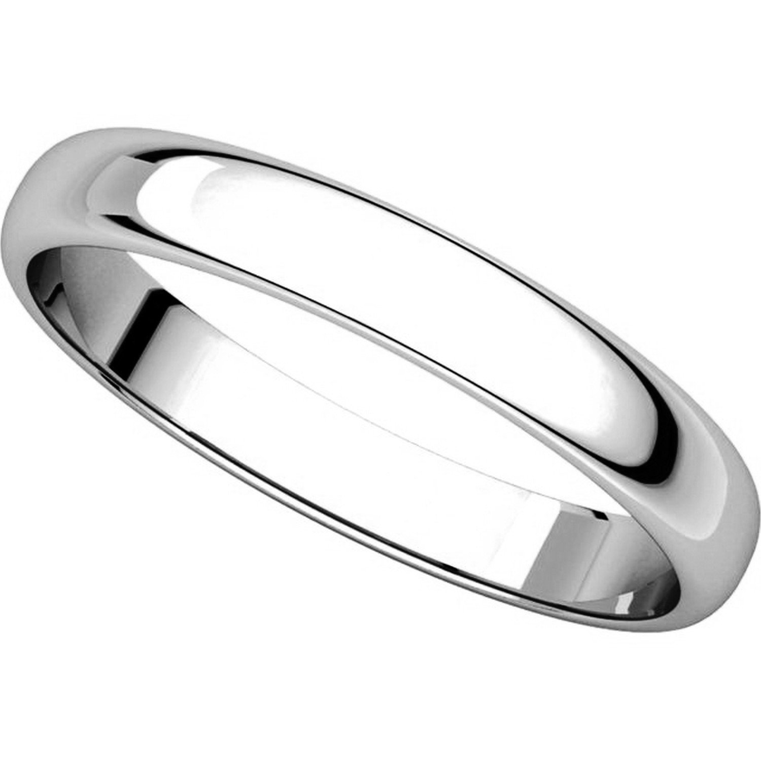 Plain Wedding Band Mens and Womens 14k White Gold 3mm Wide