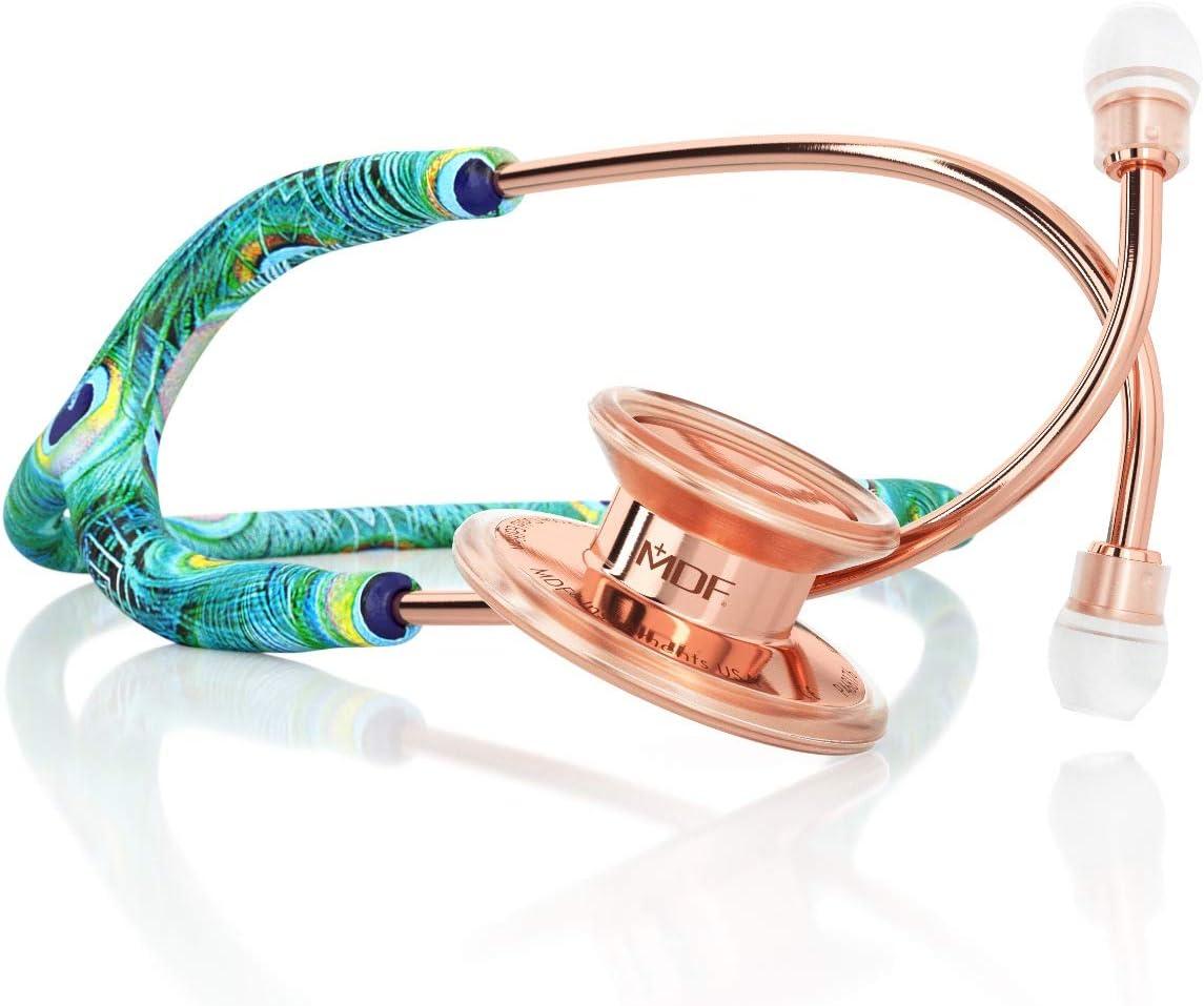 MDF® MD One® Premium Estetoscopio doble cabeza de acero inoxidable - Garantía de por vida & Programa-piezas-gratuitas-de-por-vida (MDF777) (Pavo Real/Oro Rosa)