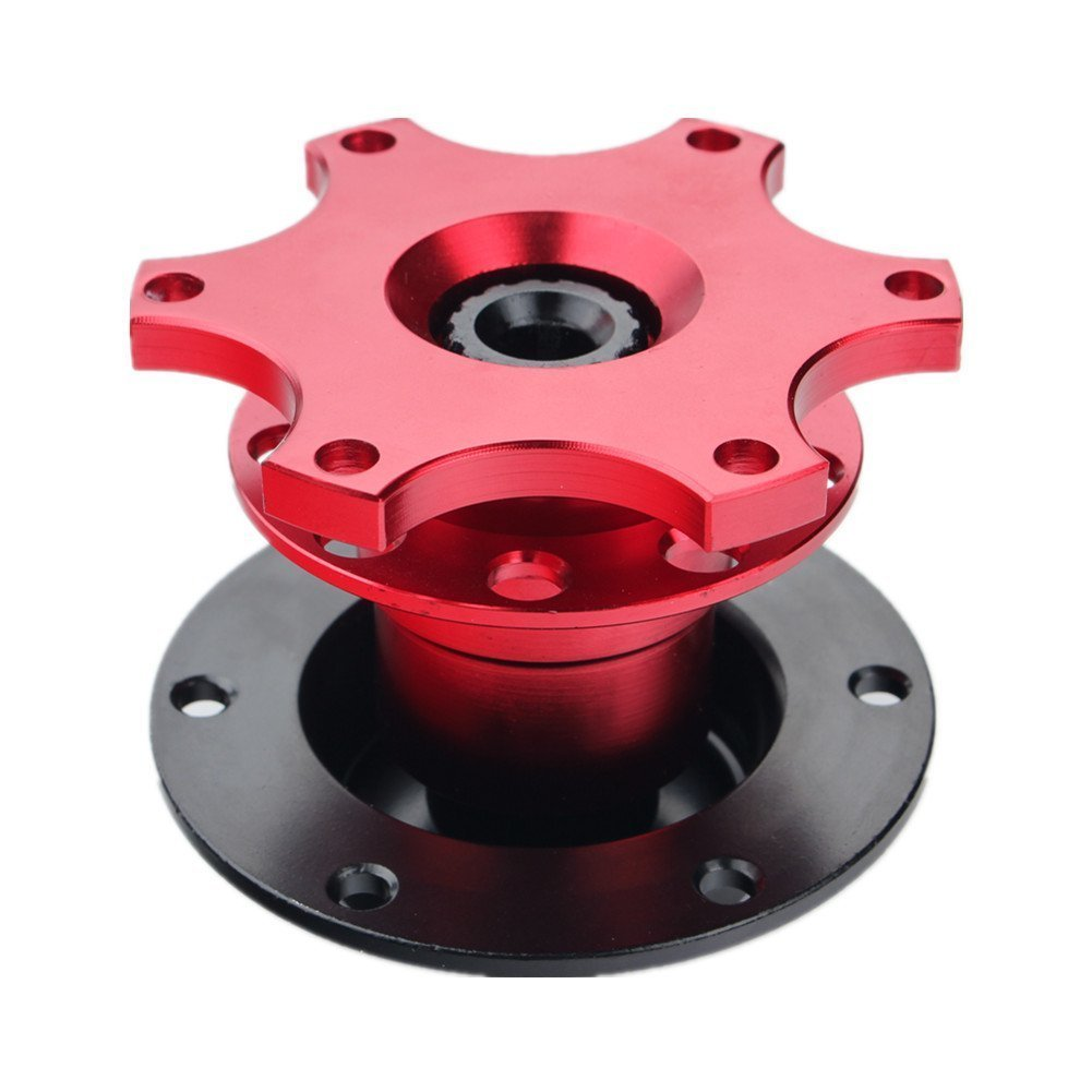 JUDING Universal Steering Wheel Quick Release Hub Adapter Snap Off For Momo Sparco Nrg Omp (Red)