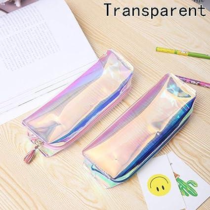 QIangpei - Estuche para lápices, cosméticos, maquillaje, holográfico, color metálico, color Clear color: Amazon.es: Oficina y papelería