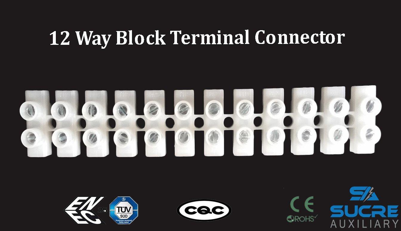 1 White Sucre ausiliario/® 24/a 450/VAC 12/prese elettriche connettori cavo di blocco terminale cavo in rame
